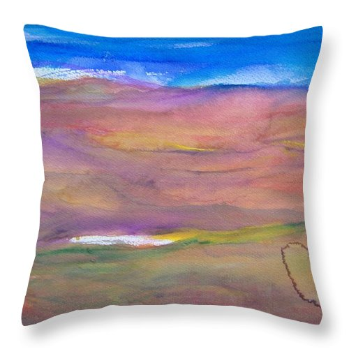 Abstract Throw Pillow featuring the painting Watering Hole by Judith Redman
