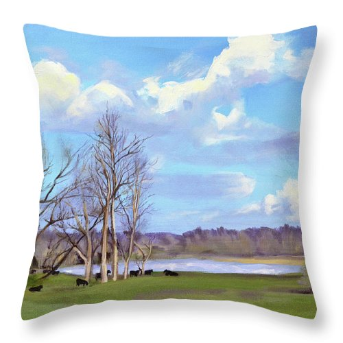 Cows Throw Pillow featuring the painting Watering Hole with Cows by Mary Chant