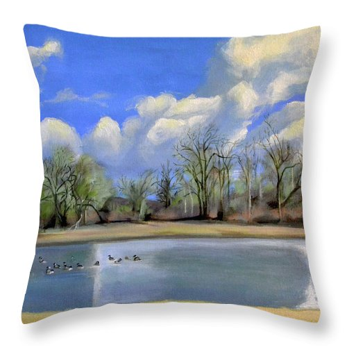 Vancouver Throw Pillow featuring the painting Watering Hole with Geese by Mary Chant