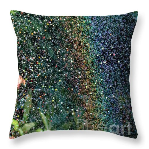 Watering Throw Pillow featuring the photograph Watering Rainbows by Jane McGowan
