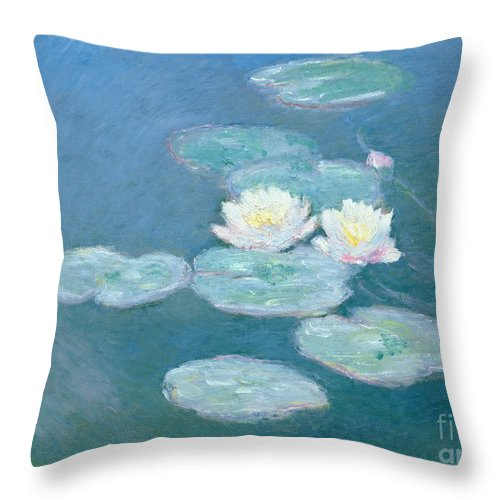 Waterlilies Throw Pillow featuring the painting Waterlilies Evening by Claude Monet