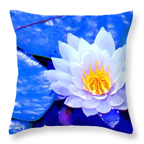 Waterlilly Throw Pillow featuring the photograph Blue Water Lily by Ian MacDonald