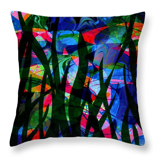 Abstract Throw Pillow featuring the digital art Watermelon And A Swim by Rachel Christine Nowicki