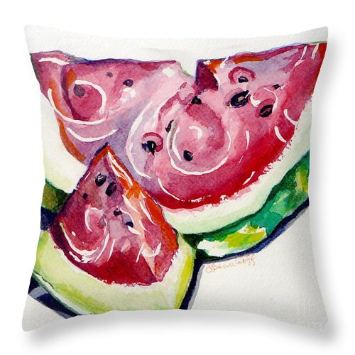 Still Life Throw Pillow featuring the painting Watermelon by Jan Bennicoff