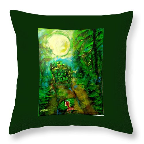 Watermelon Wagon Moon Throw Pillow featuring the painting Watermelon Wagon Moon by Seth Weaver