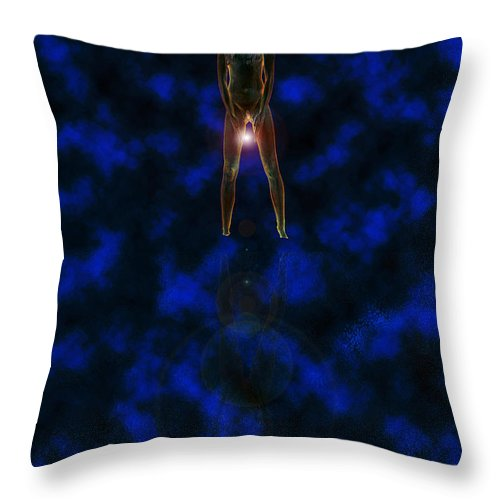 Woman Orb Star Water Reflection Glow Glowing Nude Lady Ladies Mysterious Throw Pillow featuring the digital art Waters Edge by Andrea Lawrence