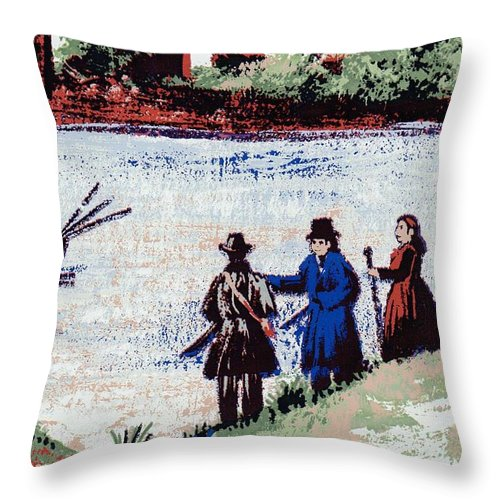 Writermore Throw Pillow featuring the mixed media Waters Edge by Writermore Arts