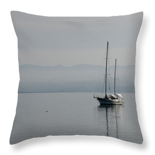 Boat Throw Pillow featuring the photograph Waters Of Calmness by Chad Davis
