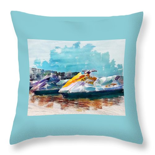 Water Throw Pillow featuring the photograph Waterskis by Joe LeGrand