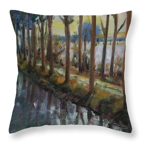 Trees Throw Pillow featuring the painting Waterway by Rick Nederlof