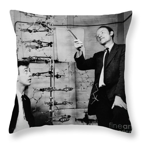 Watson Throw Pillow featuring the photograph Watson And Crick by A Barrington Brown and Photo Researchers