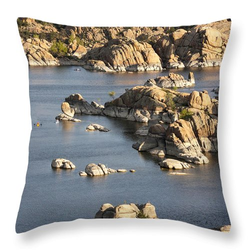 Watson Lake Throw Pillow featuring the photograph Watson Lake Adventures by Jacki Smoldon