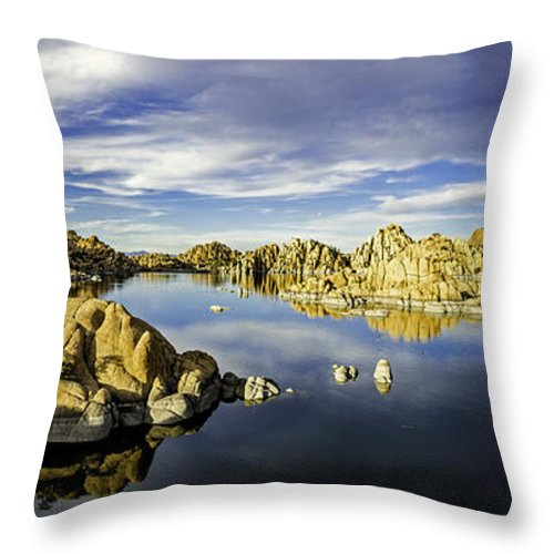 Watson Lake Throw Pillow featuring the photograph Watson Lake Panoramic 30x12 by Tom Clark