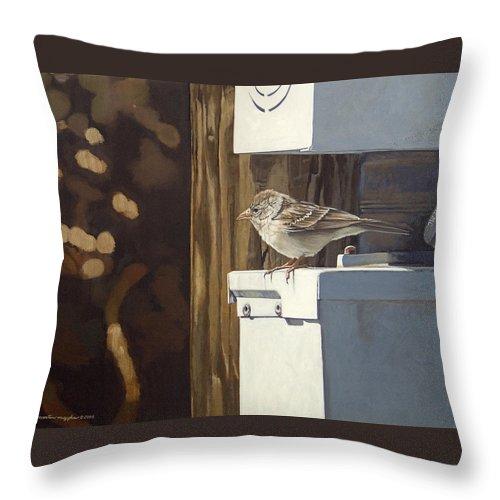 Landscape Throw Pillow featuring the painting Watt A Bird by Peter Muzyka