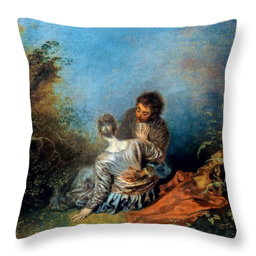 1717 Throw Pillow featuring the photograph Watteau: False Step, C1717 by Granger