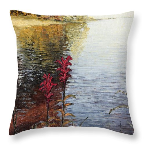 Landscape Throw Pillow featuring the painting Watts Bar Lake Rockwood Tn by Todd Blanchard
