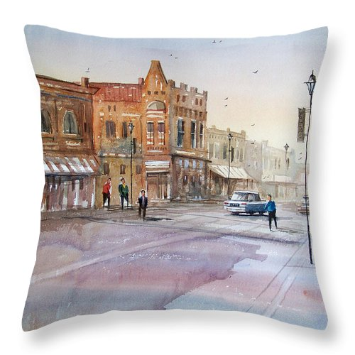 Watercolor Throw Pillow featuring the painting Waupaca - Main Street by Ryan Radke