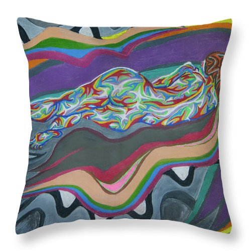 Romance Throw Pillow featuring the painting Wave Loop by Robert SORENSEN