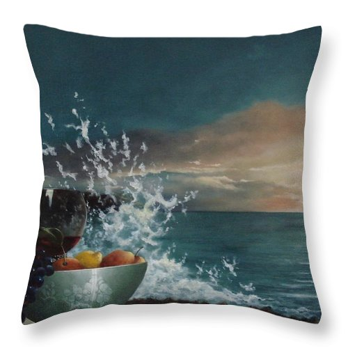 Seascape Throw Pillow featuring the painting Wave by Tjerk Reijinga