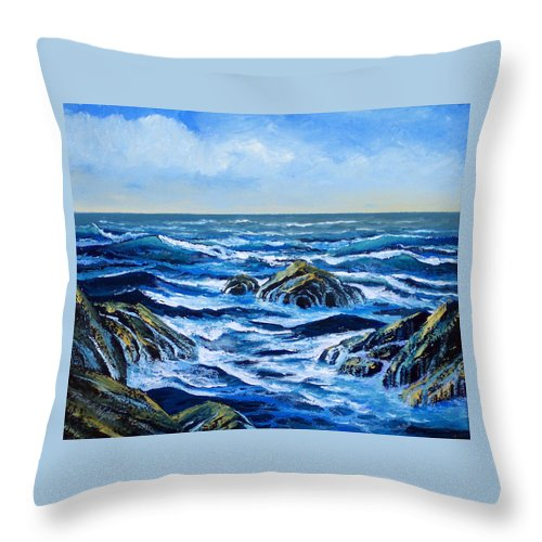 Ocean Throw Pillow featuring the painting Waves And Foam by Frank Wilson