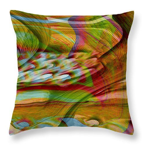 Abstracts Throw Pillow featuring the digital art Waves And Patterns by Linda Sannuti