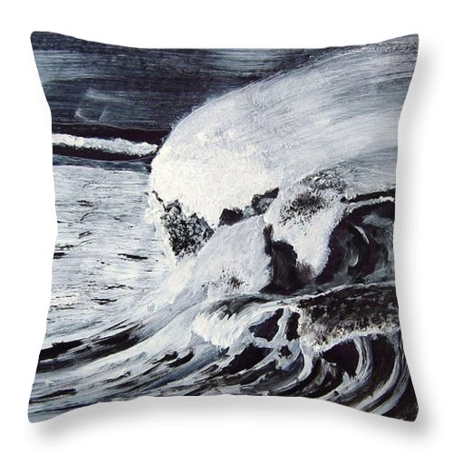 Waves Throw Pillow featuring the painting Waves At Night by Richard Le Page