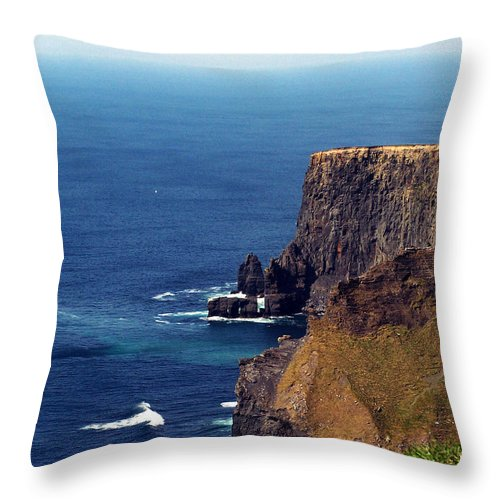 Irish Throw Pillow featuring the photograph Waves Crashing At Cliffs Of Moher Ireland by Teresa Mucha