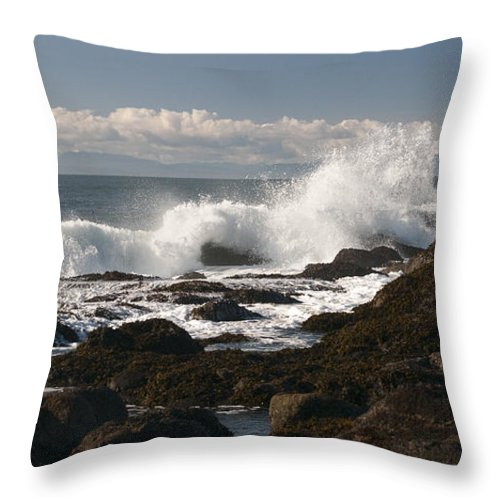 Waves Throw Pillow featuring the photograph Waves Crashing by Chad Davis