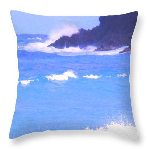 Ocean Throw Pillow featuring the photograph Waves Crashing by Ian MacDonald
