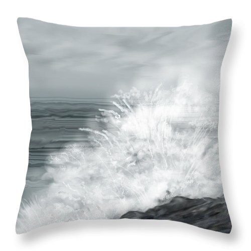 Seascape Throw Pillow featuring the painting Waves Crashing The Rocks In Ireland by Anne Norskog