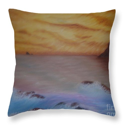 Ocean Throw Pillow featuring the painting Waves by Emily Young
