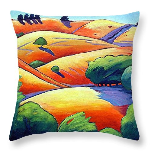 Landscape Throw Pillow featuring the painting Waves Of Hills by Gary Coleman