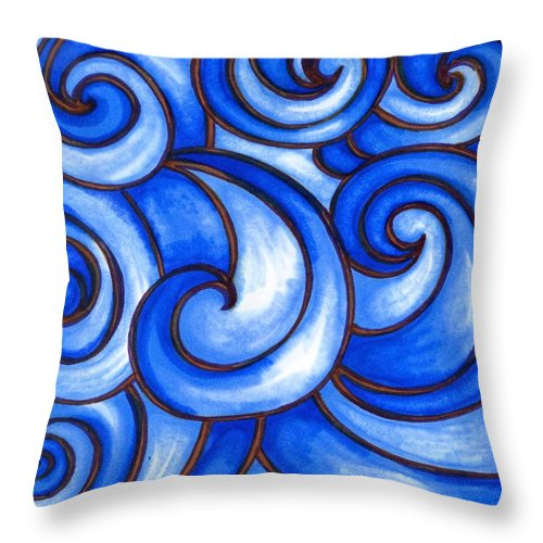 Water Throw Pillow featuring the painting Waves of Mercy by Vonda Drees