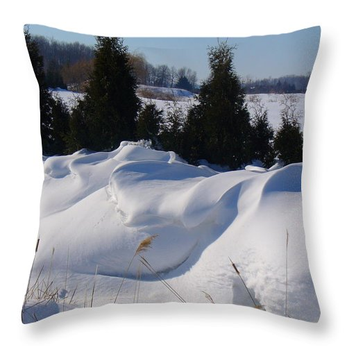 Snow Throw Pillow featuring the photograph Waves Of Snow by Peggy King