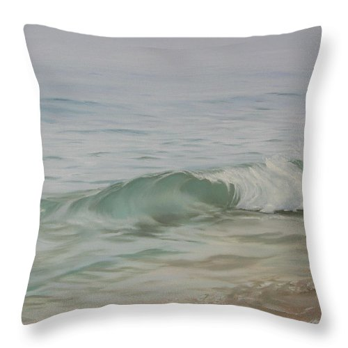 Seascape Throw Pillow featuring the painting Waves Out Of The Fog by Lea Novak