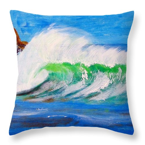 Waves Throw Pillow featuring the painting Waves by Richard Le Page
