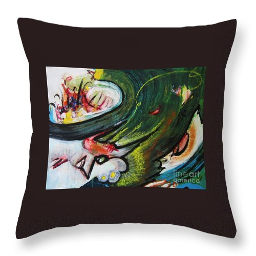 Abstract Paintings Paintings Abstract Art Paintings Throw Pillow featuring the painting Waves by Seon-Jeong Kim