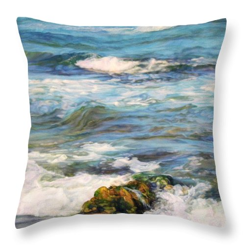 Waves Throw Pillow featuring the painting Sea Waves ... by Maya Bukhina