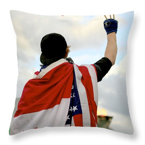 Canada Throw Pillow featuring the photograph Waving The Flag by Chris Dutton