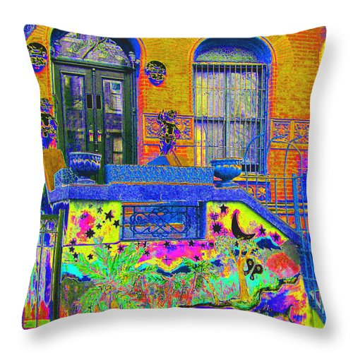 Harlem Throw Pillow featuring the photograph Wax Museum Harlem Ny by Steven Huszar