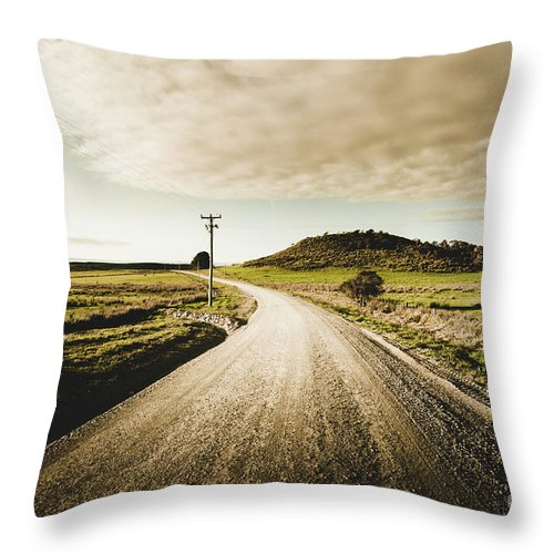 Road Throw Pillow featuring the photograph Way Out Yonder by Jorgo Photography - Wall Art Gallery