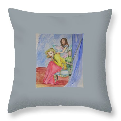 Throw Pillow featuring the painting Way Past Bedtime 2 by Lizzy Forrester