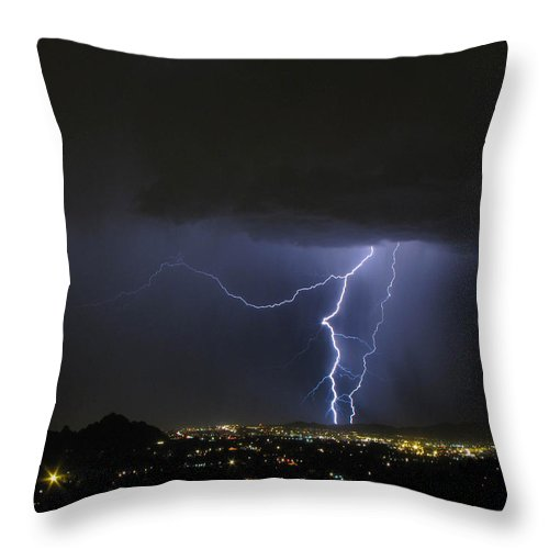 Lightning Throw Pillow featuring the photograph Wayward Sky by Cathy Franklin