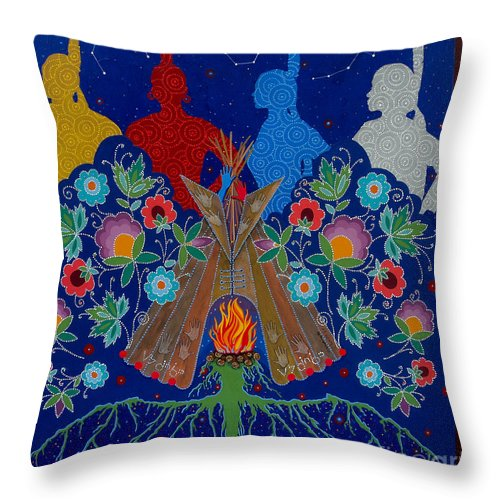 Native American Painting Throw Pillow featuring the painting We Are One Bond by Chholing Taha