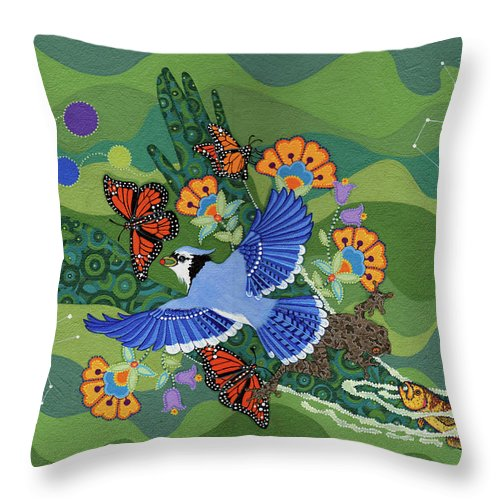 Water Throw Pillow featuring the painting We Are One by Chholing Taha