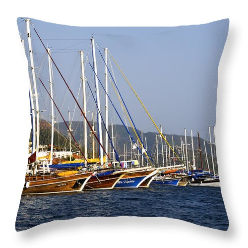 Boat Throw Pillow featuring the photograph We Are Sailing by Svetlana Sewell