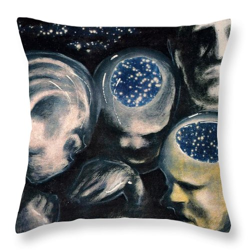 Universe Aura Thoughts Thinking Faces Mistery Throw Pillow featuring the mixed media We Are Universe by Veronica Jackson