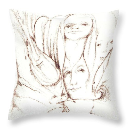 Faces Throw Pillow featuring the drawing We Are Watching by Stephanie H Johnson