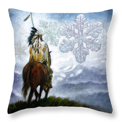 American Indian Throw Pillow featuring the painting We Vanish Like the Snow Flake by John Lautermilch