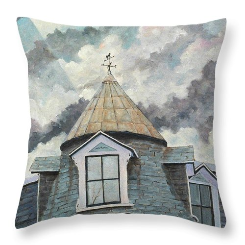Urban Scene Throw Pillow featuring the painting Weather Vane by Richard T Pranke
